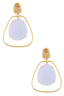 Gold Plated Chalcedony and Cut Lemon Quartz Statement Earrings by Varnika Arora