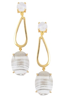 Gold Plated Rainbow Moonstones and Flinstone Earrings by Varnika Arora