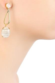Gold Plated Rainbow Moonstones and Flinstone Earrings by Varnika Arora