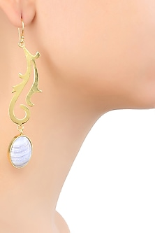 Gold Plated Semi Precious Stone Blue Lace Agate Statement Earrings by Varnika Arora