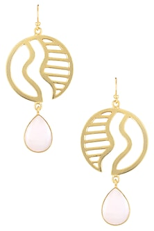 Gold Plated Semi Precious Stone Pink Arognite Statement Earrings by Varnika Arora