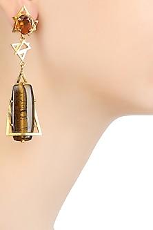 Gold Plated Cabochon Stone Tiger's Eye and Cut Smokey Quartz Earrings by Varnika Arora