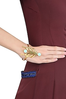 Gold Plated Cut Stones Amazonite Statement Wrist Palm Cuff by Varnika Arora