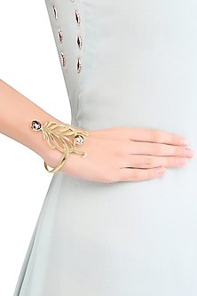 Gold Plated Cabochon Mohave Copper Mix Stone Statement Wrist Palmcuff by Varnika Arora