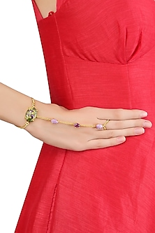 Gold Plated Amethyst, Phosphoderite and Mohave Stichitite Statement Hand Harness by Varnika Arora