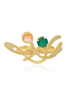 Gold Plated Smokey Quartz and Green Onyx Statement Two Finger Ring by Varnika Arora