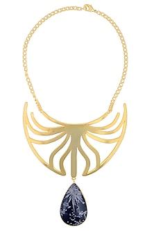 Gold Plated Chrysanthymum Stone Statement Choker Necklace by Varnika Arora