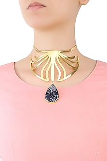 Gold Plated Chrysanthymum Stone Statement Choker Necklace by Varnika Arora