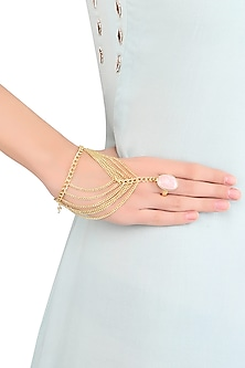 Gold Plated Rhodochrosite Stone Statement Hand Harness/ Haathphool by Varnika Arora