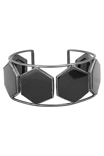 Gunmetal Plated Black Onyx Stones Handcuff by Varnika Arora