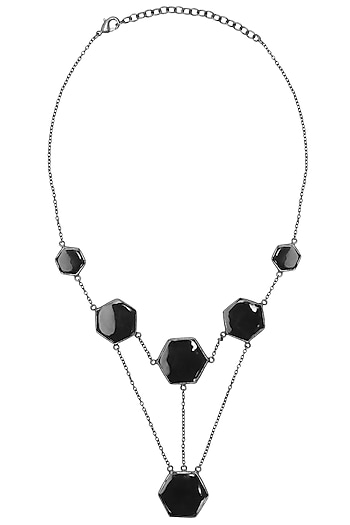 Gunmetal Plated Black Onyx Necklace by Varnika Arora