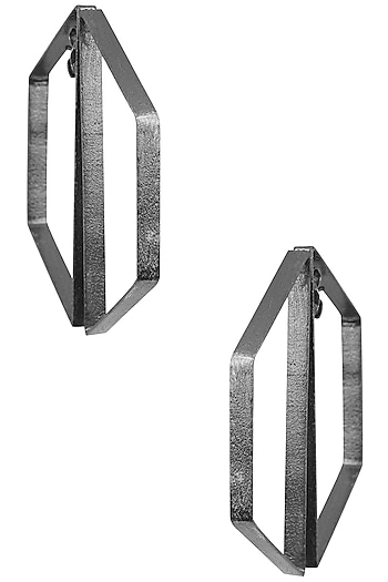 Gunmetal Plated Abstract Earrings by Varnika Arora