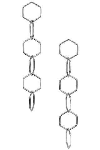 Gunmetal Plated Intertwined Dangler Earrings by Varnika Arora