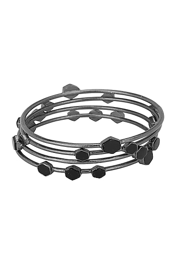Set Of 4 Gunmetal Plated Black Onyx Bangles by Varnika Arora