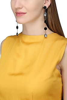 Gunmetal Plated Black Onyx Stones Earrings by Varnika Arora