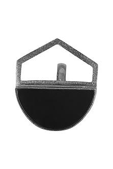 Gunmetal Plated Black Onyx Abstract Ring by Varnika Arora