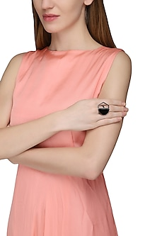 Gunmetal Plated Black Onyx Abstract Ring by Varnika Arora