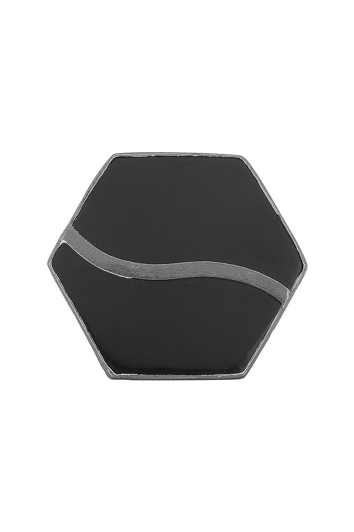 Gunmetal Plated Black Onyx Ring by Varnika Arora