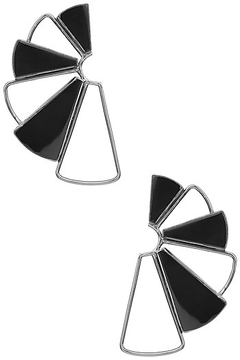 Gunmetal Plated Black Onyx Geometric Earrings by Varnika Arora