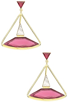 Gold Plated Pink Quartz and Howlite Stone Earrings by Varnika Arora
