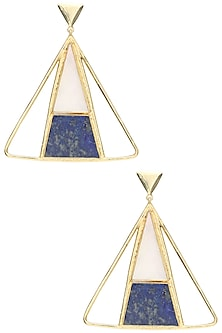 Gold Plated Mother Of Pearl and Blue Lapis Stone Earrings by Varnika Arora