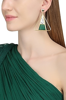 Gold Plated Green Onyx and Howlite Stone Earrings by Varnika Arora