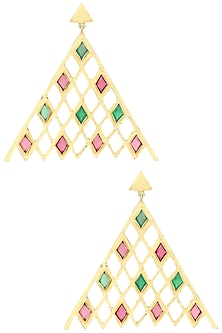 Gold Plated Green Onyx and Citrine Amethyst Earrings by Varnika Arora