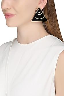 Gold Plated Black Onyx Stone Earrings by Varnika Arora