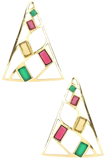 Gold Plated Green Onyx and Multi-Coloured Semi Precious Stone Earrings by Varnika Arora