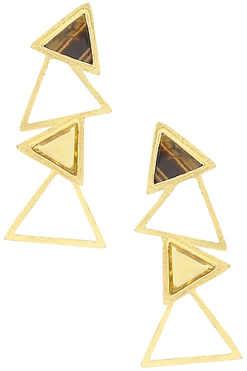Gold Plated Tiger'S Eye and Citrine Amethyst Stone Earrings by Varnika Arora