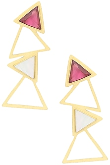 Gold Plated Mother Of Pearl and Pink Quartz Long Earrings by Varnika Arora