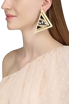 Gold Plated Peanut Wood Jasper Stone Earrings by Varnika Arora