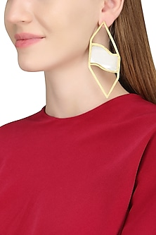 Gold Plated Mother Of Pearl Earrings by Varnika Arora