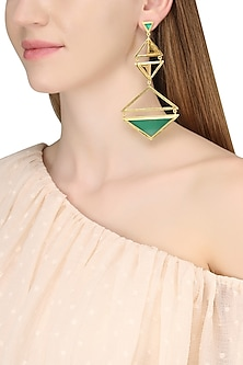 Gold Plated Green Onyx and Citrine Amethyst Stone Earrings by Varnika Arora