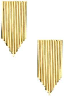 Gold Plated Textured Earrings by Varnika Arora