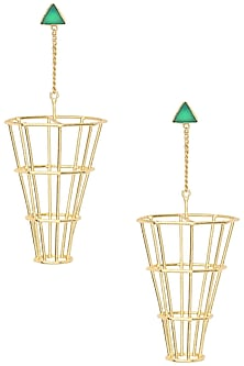 Gold Plated Green Onyx Dangler Earrings by Varnika Arora