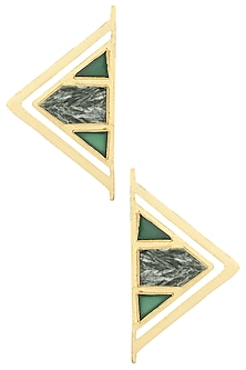 Gold Plated Green Onyx and Serphanite Stone Earrings by Varnika Arora