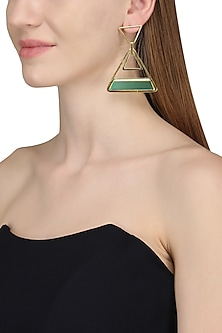 Gold Plated Green Onyx Stone Earrings by Varnika Arora