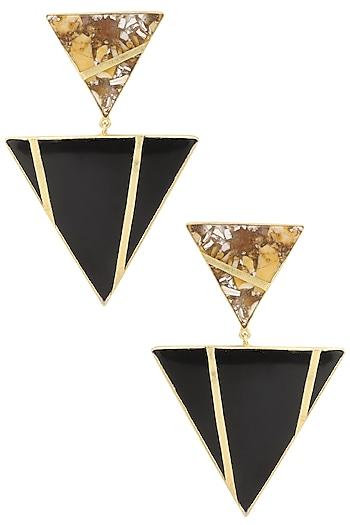 Gold Plated Black Onyx and Mookite Stone Earrings by Varnika Arora