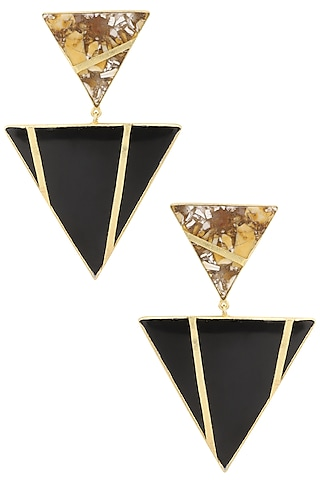 Gold Plated Black Onyx and Mookite Stone Earrings by Varnika Arora