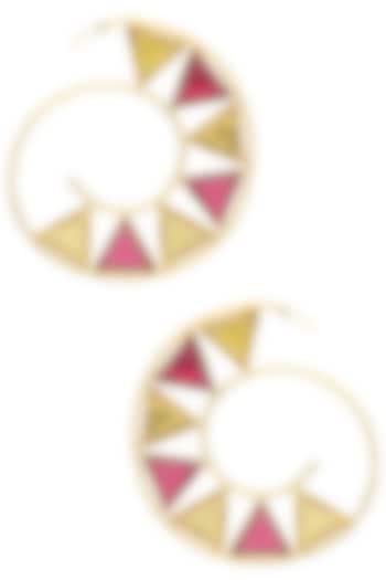 Gold Plated Pink Quartz and Citrine Hoop Earrings by Varnika Arora