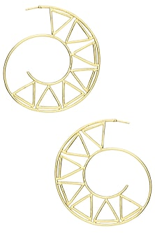 Gold Plated Triangle Hoop Earrings by Varnika Arora