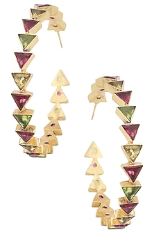 Gold Plated Multi-Coloured Stone Hoop Earrings by Varnika Arora