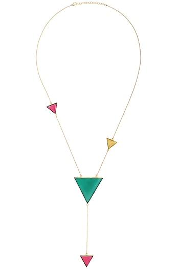 Gold Plated Multi-Coloured Stone Necklace by Varnika Arora