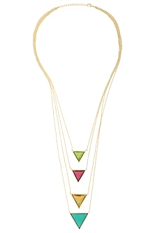 Gold Plated Multi-Coloured Stone Layered Necklace by Varnika Arora