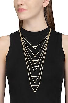 Gold Plated Layered Necklace by Varnika Arora