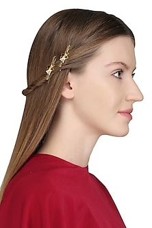 Gold Plated Pink Stone Embellished Hair Pin by Varnika Arora