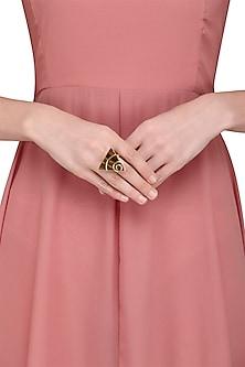 Gold Plated Tiger'S Eye Stone Embellished Ring by Varnika Arora
