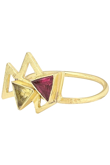 Gold Plated Pink Quartz Embellished Ring by Varnika Arora