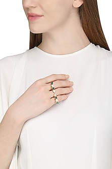 Gold Plated Green Onyx Ring by Varnika Arora